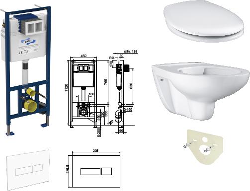 WC-Paket-1 Grohe BauKeramik SPÜLRANDLOS bestehend aus Vorwandelement, WC, Sitz, Schallschutzset
