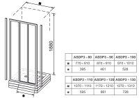 Ravak Duschgleittür 3teilig, Kunstglas weiss, B: 1000 mm H: 1980 mm ASDP3-100
