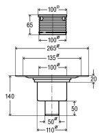 Viega Badablauf Advantix DN 50 Ablauf senkrecht m.Aufsatz 100x100mm 556914