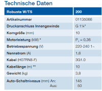 ABS Schmutzwasserpumpe Robusta 200 W-TS m.10m Kabel...