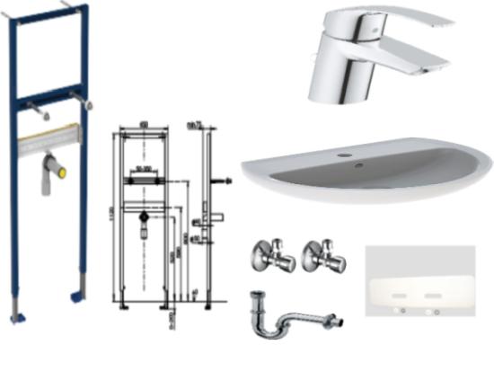 Waschtisch-Paket-1 Geberit Paris bestehend aus Vorwandelement, Waschtisch, Armatur, Eckventile, Schallschutzset, Röhrengeruchsverschluss