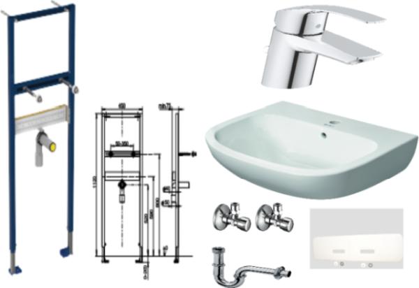 Waschtisch-Paket-2 Duravit D-Code bestehend aus Vorwandelement, Waschtisch, Armatur, Eckventile, Schallschutzset, Röhrengeruchsverschluss