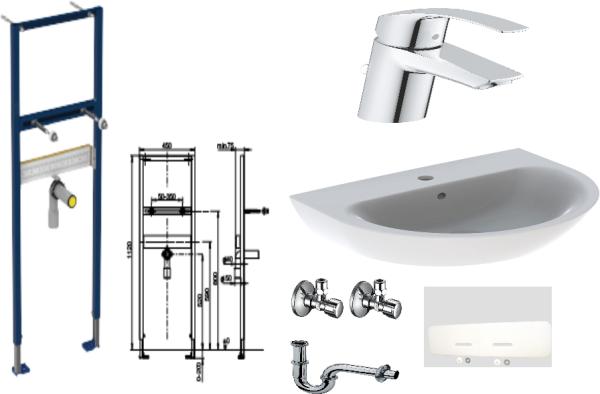 Waschtisch-Paket-3 Geberit Renova Nr.1 bestehend aus Vorwandelement, Waschtisch, Armatur, Eckventile, Schallschutzset, Röhrengeruchsverschluss