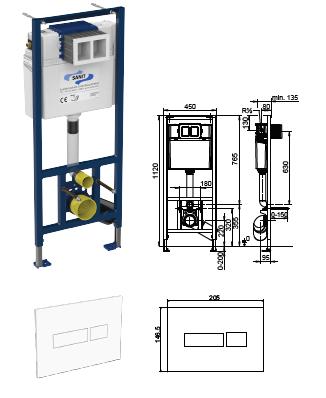 Sanit WC-Element Classic 2-Mengen Spülung inkl.Betätigungsplatte weiss 1120x450mm 90.506.00.0000