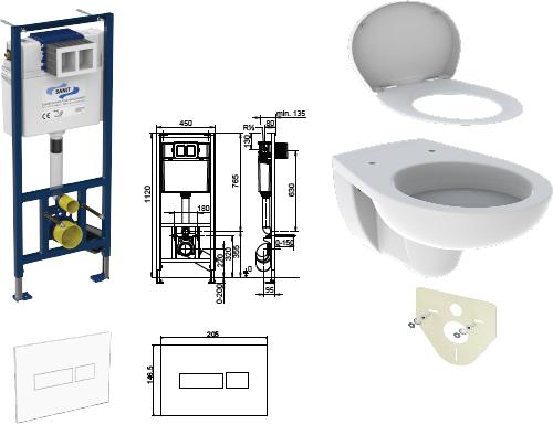 WC-Paket-2 Geberit Paris bestehend aus Vorwandelement, WC, Sitz, Schallschutzset