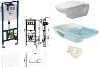 WC-Paket-4 Duravit D-Code SPÜLRANDLOS bestehend aus Vorwandelement, WC SPÜLRANDLOS, Sitz, Schallschutzset