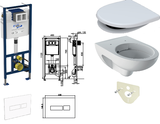 WC-Paket-6 Geberit Renova Nr.1 SPÜLRANDLOS bestehend aus Vorwandelement, WC SPÜLRANDLOS, Sitz, Schallschutzset