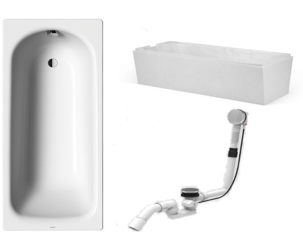 Badewanne-Paket-1 Kaldewei Saniform Plus 160x70cm bestehend aus Badewanne, Wannenträger/Wannenfüße, Ab- und Überlaufgarnitur