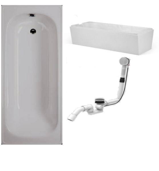 Badewanne-Paket-5 Badewanne Stahl 160x70cm bestehend aus Badewanne, Wannenträger/Wannenfüße, Ab- und Überlaufgarnitur