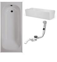 Badewanne-Paket-6 Badewanne Stahl 170x70cm bestehend aus Badewanne, Wannenträger/Wannenfüße, Ab- und Überlaufgarnitur