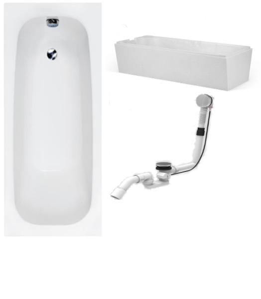 Badewanne-Paket-10 Hoesch Riviera Acryl 170x75cm bestehend aus Badewanne, Wannenträger, Ab- und Überlaufgarnitur