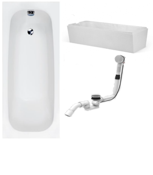 Badewanne-Paket-8 Hoesch Riviera Acryl 160x70cm bestehend aus Badewanne, Wannenträger, Ab- und Überlaufgarnitur
