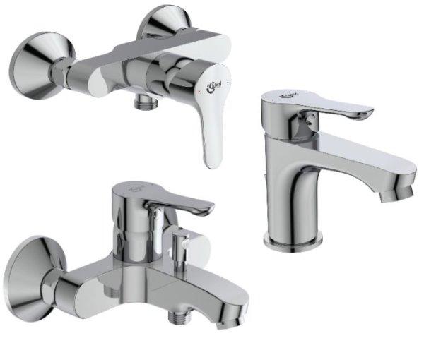 Armaturen-Paket-3 Ideal Standard Alpha bestehend aus Waschtischarmatur, Brausearmatur, Wannenarmatur