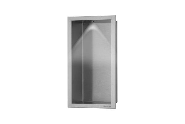 ESS Container BOX Wandnische mit LED Beleuchtung und Rahmen 150x300x100mm Nische + Rahmen edelstahl gebürstet