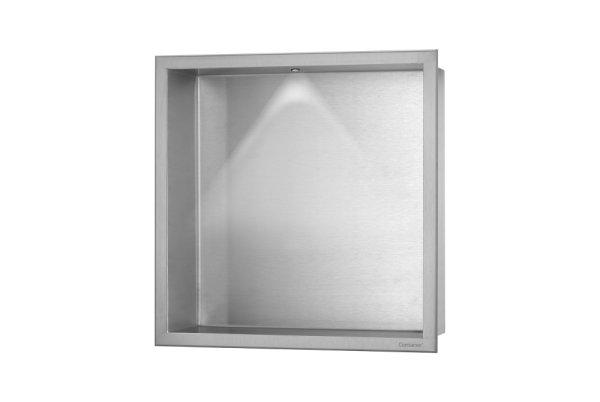 ESS Container BOX Wandnische mit LED Beleuchtung und Rahmen 300x300x100mm Nische + Rahmen edelstahl gebürstet
