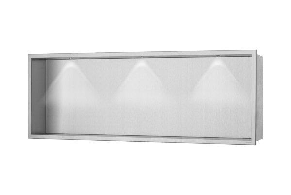 ESS Container BOX Wandnische mit LED Beleuchtung und Rahmen 900x300x100mm Nische + Rahmen edelstahl gebürstet