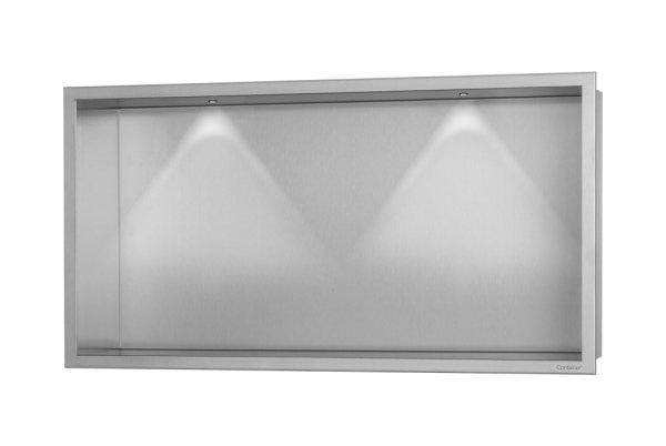 ESS Container BOX Wandnische mit LED Beleuchtung und Rahmen 600x300x100mm Nische + Rahmen edelstahl gebürstet