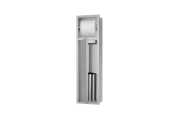 ESS Container WC-Bürstengarnitur mit Papierhalter, 173x622x140mm, Nische + Rahmen edelstahl gebürstet