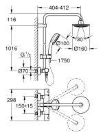 Grohe Duschsystem Tempesta C Kopfbrause 160mm, Thermostat...