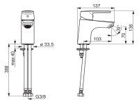 Hansa Waschtischbatterie HANSAPOLO Ausld. 103mm DN15 chrom 51422293