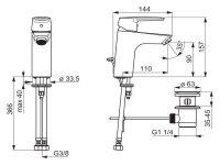 Hansa Waschtischbatterie HANSAPOLO XL Zugst.Ablgarn. Ausld. 110 mm DN15 chrom 51502293