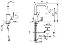 Hansa Waschtischbatterie HANSAPOLO Zugst.Ablgarn. Ausld. 152 mm DN15 chrom 51552293